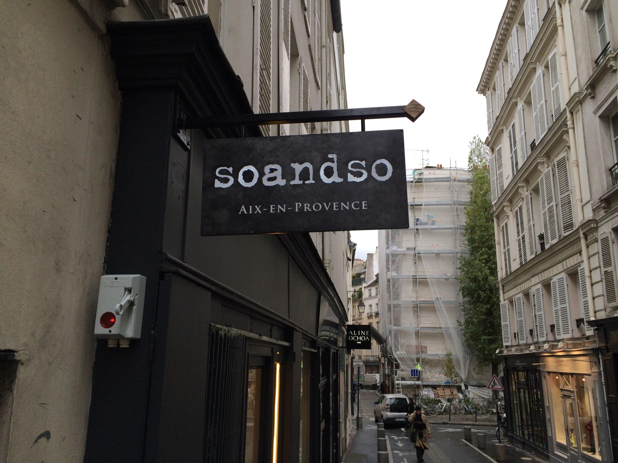 Enseigne So and so PARIS VI